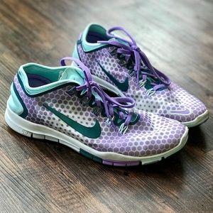 Nike Free 5.0 Running Shoes: Purple/Teal Polka Dot